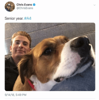 Senior year. A4 aka Avengers 4...I think that's a hint it's his final one. chrisevans cevans dodger: Chris Evans  @ChrisEvans  Senior year. #A4  9/14/18, 5:49 PM Senior year. A4 aka Avengers 4...I think that's a hint it's his final one. chrisevans cevans dodger