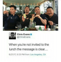 Chris Evans, Drake, and Drake Bell: Chris Evans  @ChrisEvans  When you're not invited to the  lunch the message is clear..  6/21/17, 5:23 PM from Los Angeles, CA DEAD ° **this is obviously fake, that's not even Chris' profile picture, and this is the Drake Bell meme, it really has nothing to do with this** ° 《cred to @death.of.a.marvel 》