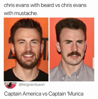 'MURICA BABY! USA! 🇺🇸 USA! 🇺🇸: chris evans with beard vs chris evans  with mustache.  @fergnerduson  Captain America vs Captain 'Murica 'MURICA BABY! USA! 🇺🇸 USA! 🇺🇸