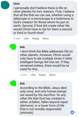 Animals, God, and Jesus: Chris  I personally don't believe there is life on  other planets for two reasons. First, I believe  that all the that we can see, whether using a  telescope or a microscope is a testimony to  God's creation for those whom he put on  earth. Second, if God did create other life,  would Christ have to die for them a second  or third or fourth time?  2 wks Like Reply More  Bob  I don't think the Bible addresses life on  other planets. However, Christ would  only have to die multiple times if other  intelligent beings fell into sin. If they  remained sinless, there would be no  need for this.  Like  2 wks  Reply More  Bob  According to the Bible, Jesus died  only once, and only human beings  are saved by His sacrifice. So any  other life that God has created is  either unfallen, fallen beyond repair  (demons), or a lower form of life  that is not morally responsible  (animals)  1 Chris and Bob, Xenotheologians.
