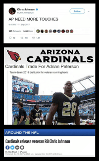 Adrian Peterson, Arizona Cardinals, and Football: Chris Johnson  @ChrisJohnson28  Follow  AP NEED MORE TOUCHES  6:45 PM - 11 Sep 2017  905 Retweets  1,430 Likes  87  082  905  1.4K  ARIZONA  CARDINALS  Cardinals Trade For Adrian Peterson  Team deals 2018 draft pick for veteran running back  愿?  AROUND THE NFL  Cardinals release veteran RB Chris Johnson  By Nick Shook NFL.com  Published: Oct. 10, 2017 at 02:29 p.m. Updated: Oct. 10, 2017 at 03:06 p.m Life comes at you fast https://t.co/RY4cDuliOC