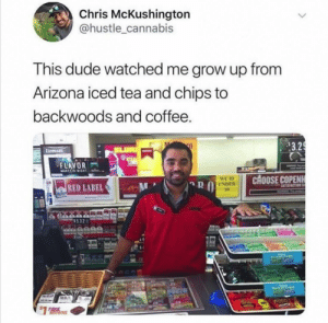 Arizona iced tea.: Chris McKushington  @hustle_cannabis  This dude watched me grow up from  Arizona iced tea and chips to  backwoods and coffee.  $3.29  SLUR  Licenses  STRA  FLAVOR  2  MARESIGNT  CHOOSE COPENH  WE ID  UNDER  35  RED LABEL  SATISFACTION  WARNG  lleanA  Kees  $1 Arizona iced tea.