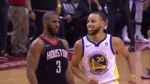 Chris Paul hits the three over Steph Curry and then lets him know about it😂😂 https://t.co/80Sd4bWTmx: Chris Paul hits the three over Steph Curry and then lets him know about it😂😂 https://t.co/80Sd4bWTmx