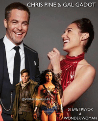 Chris Pine, Memes, and Period: CHRIS PINE & GAL GADOT  @WONDERVAUGHN  STEVE TREVOR  WONDER WOMAN POWERful COUPLE! @gal_gadot and chrispine * Chris Pine signed a multi-picture deal with the DCEU. How would you bring him back for the Wonder Woman sequel? * MY THEORY ONE: Flashback... When Steve first arrives back in London, Etta comments he's been gone for months. I'm betting he spent some time on Themyscira (and not just a day or two as it appeared). I would say about a week or two at most on the island. Any flashbacks in WW 2 would show the development of his and Diana's relationship as well as more Amazons on the island. * MY THEORY TWO: Grandson... The other way they could bring Steve back would be to pay homage to the 1970s show. The TV show starring Lynda Carter jumped from 1942 World War 2 time period in season 1 to its 1970s Present Day in season 2. The actor who played Steve in season 1 returned to play his own son, Steve Jr, in season 2. Chris could play his own grandson in present day (BvS, JL). *** mywonderwoman girlpower women femaleempowerment MulherMaravilha MujerMaravilla galgadot unitetheleague princessdiana dianaprince amazons amazonwarrior manofsteel thedarkknight stevetrevor powercouple superherocouple
