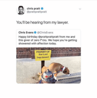 Birthday, Chris Evans, and Chris Pratt: chris pratt  @prattprattpratt  You'll be hearing from my lawyer.  Chris Evans@ChrisEvans  Happy birthday @prattprattpratt from me and  this giver of zero f*cks. We hope you're getting  showered with affection today.  Star-Lord  Dogs beware! guys my poop is being annoying today