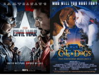 """America, Cats, and Dogs: CHRIS ROBERT SCARLETT SEBASTIAN JEREMY DON ANTHONY PAUL ELIZABETH DANIEL  EVANS DOWNEY JR. JOHANSSON STAN RENNER CHEADLE MACKIE BETTANY OLSEN BROHL  MARVE  THE FIREWORKS BEGIN JULY 4  WARNER BROS.PICTURES Presat  UNITED WE STAND. DIVIDED WE FALL  """"thCEIEI STEIENSON  RIC【 W. FINNEY- JAMES BISSELI--JULI MACAT  CHRIS BENDER LE SPINK  B㏁ BERMAN  JOHN REGIA: GIENNFICARRA ﹃ANDREW LIAR CHIISIEFARIA WAHHIIRE CRAIG PERRY  IN 3D.REALD 3D  AND IMAX 3D  www.catsanddogsmovie.com America Online Keyword: Cats and Dogs <p>La similitud es inquietante…</p>"""