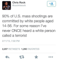 Chris Rock, Memes, and White People: Chris Rock  @ozchrisrock  90% of U.S. mass shootings are  committed by white people aged  14-56. For some reason I've  never ONCE heard a White person  called a terrorist  2/11/15, 7:02 PM  2,207 RETWEETS 1.260  FAVORITES The stereotypes perpetuated by the media are not an accident. The majority of the mainstream media is composed of card carrying white supremacists. Their job is to protect the global white image at all costs no matter who or what is degraded in the process.