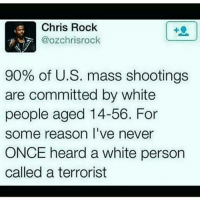 Chris Rock, Memes, and Hypocrisy: Chris Rock  R 7 @ozchrisrock  90% of U.S. mass shootings  are committed by white  people aged 14-56. For  some reason I've never  ONCE heard a white person  called a terrorist @Regrann from @problkthought - Because they will never generalize themselves as a problem like they are so quick and adamant to do others. Hypocrisy and cognitive dissonance are like religions to them PanAfricanism BlackNationalism BlackEmpowerment AfricanEmpowerment AfricanAndProud IntegrationFailed WhiteLiesMatter Education AfricanUnification AfricanUnity BlackLove JusticeOrElse ProBlack - regrann Mediaoutrage