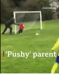 "Fall, Football, and Memes: Chris Wilkins  Pushy' parent When Phil Hatfield was watching his son play football, he could not resist giving him a ""helping"" hand. So as six-year-old goalkeeper Osian became distracted, Phil gave him a small push leading the lad to fall on to the ball. Tap the link in our bio to read the story of the ultimate ""pushy parent"". football goalkeeper goal dadlife dadfail bbcnews"