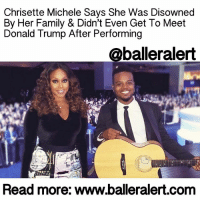 """Billboard, Memes, and Michelle Obama: Chrisette Michele Says She Was Disowned  By Her Family & Didn't Even Get To Meet  Donald Trump After Performing  @balleralert  Read more: www.balleralert.com Chrisette Michele Says She Was Disowned By Her Family & Didn't Even Get To Meet Donald Trump - blogged by: @eleven8 ⠀⠀⠀⠀⠀⠀⠀⠀⠀ ⠀⠀⠀⠀⠀⠀⠀⠀⠀ ChrisetteMichele is opening up for the first time about performing at DonaldTrump's inaugural ball. She discusses whether or not she really performed for $750,000 and all of the backlash she has been receiving. She even says that after being disowned by her family, she didn't even get to meet the president. ⠀⠀⠀⠀⠀⠀⠀⠀⠀ ⠀⠀⠀⠀⠀⠀⠀⠀⠀ """"I didn't even think to say no. It didn't cross my mind,"""" said Chrisette. """"The first thing I thought was that I have an opportunity to get in front of these people who don't seem to understand who they're talking to and show them what we look like. I felt automatically committed to making sure that I stood up for the women who've felt disrespected and the minorities who felt disrespected, communities that felt that they weren't being heard or understood. I thought that it was almost my responsibility to not just say yes but to say yes with purpose."""" ⠀⠀⠀⠀⠀⠀⠀⠀⠀ ⠀⠀⠀⠀⠀⠀⠀⠀⠀ She then addressed the rumors that she performed for $750k. """"We sent in an offer for how much we charge and they said, 'Well we don't have that,' and the first thing I thought then was how I sang for Barack and Michelle Obama free of charge. This is not a money thing,"""" she told Billboard. When asked if she performed for Trump for free, she replied, """"No, I didn't perform for free. One, it wasn't $750,000, but my manager did negotiate my contract."""" ⠀⠀⠀⠀⠀⠀⠀⠀⠀ ⠀⠀⠀⠀⠀⠀⠀⠀⠀ Chrisette Michele also mentions to Billboard that she was frustrated that she never got to even meet DonaldTrump, despite all the backlash she received online and from her own family. ⠀⠀⠀⠀⠀⠀⠀⠀⠀ ⠀⠀⠀⠀⠀⠀⠀⠀⠀ """"Originally I was supposed to perform directly after his first speech, and I had done th"""