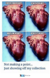 Memes, Muslim, and Heart: CHRISTIAN HEART  EWISH HEART  MUSLIM HEART  ATHEIST HEART  Not making a point..  Just showing off my collection