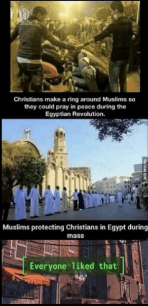 Wholesome_praying: Christians make a ring around Muslims so  they could pray in peace during the  Egyptian Revolution.  Muslims protecting Christians in Egypt during  mass  Everyone liked that  9GAG.COM Wholesome_praying