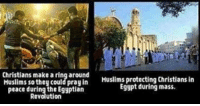 Memes, Muslim, and Egypt: Christians make a ringaround protecting Christians in  Muslims so they could Muslims Egypt during mass.  peace during the Egyptian  Revolution I am totally 100% against religion as a whole, but I do not see the reason to persecute a people because of their beliefs!