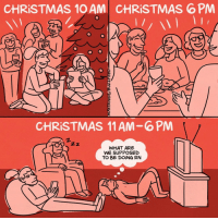 Christmas, Memes, and Best: CHRISTMAS 10 AM  CHRİSTMAS 6 PM  0  CHRISTMAS 11 AM-6PM  2.  WHAT ARE  WE SUPPOSED  TO BE DOİNG RN It's the best time of the year 🎄 (by @maritsapatrinos)