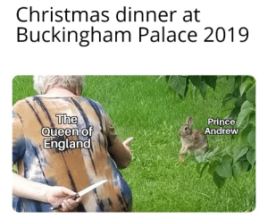 Me_irl: Christmas dinner at  Buckingham Palace 2019  The  Queen of  England  Prince  Andrew Me_irl
