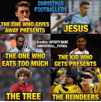 Christmas Footballers 😏: CHRISTMAS  FOOTBALLERS  THE ONE GIVES  AWAY PRESENTS  JESUS  Credits: @FOOTY BASE  CINSTATROLL FUTBOL  THE ONE WHO  THE KID WHO  EATS TOO MUCH GETS PRESENTS  THE TREE THE REINDEERS Christmas Footballers 😏