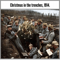 "Christmas, Fire, and Future: Christmas in the trenches, 1914 [Colorized] During WWI on Christmas Eve, the sounds of rifles firing and shells exploding began to fade away as soldiers began to declare their own unofficial truce. ⁣ ⁣ The country's participating in the war refused to create any sort of official cease fire, so the soldiers took it into their own hands. Starting on Christmas Eve, British and German troops sang Christmas carols to each other across the lines. On Christmas Day, German soldiers began to emerge from their trenches and approach Allied lines across no-man's-land, calling out ""Merry Christmas"" in their enemy's native tongues. ⁣ ⁣ At first the Allied soldiers feared it was a trick, but seeing the German soldiers unarmed, they also began to emerge from their trenches and began shaking hands with German soldiers and even exchanging gifts like cigarettes and plum pudding. ⁣ ⁣ This Christmas Truce was unfortunately the last of it's kind. Future cease fire attempts were stopped by officers with threats of disciplinary action."
