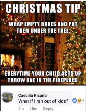 Christmas, Kids, and Tree: CHRISTMAS TIP  WRAP EMPTY BOXES AND PUT  THEM UNDER THE TREE  EVERYTIME YOUR CHILDACTS UP  THROW ONE IN THE FIREPLACE.  Caecilia Risanti  What if i ran out of kids?  1 h Like Reply  D  4 There is always that one person