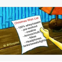 Anaconda, Christmas, and Memes: Christmas Wish List  100% whey/casein  - pre-workout  creatine  Aminos/multi  Nikes  Headphones  tanks/sweats/tights  10: @thegainz Well now yall know my list. I'll be waiting by the door comes Christmas time 😊