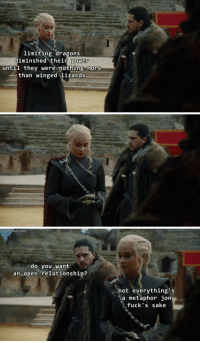 """Tumblr, Blog, and Http: chrysreviews.com  limiting dragons  diminshed their power  until they were nothing more  than winged lizards   chrysreviews.com   chrysreviews.com  do you want  an open relationship?  not everything's  a metaphor jon  fuck's sake <p><a href=""""http://chryswatchesgot.tumblr.com/post/164762783392/chrys-watches-got-x-requests-for-individuals"""" class=""""tumblr_blog"""">chryswatchesgot</a>:</p><blockquote><p>Chrys Watches Got <b><a href=""""http://chryswatchesgot.tumblr.com/"""">[x]</a> / </b>requests for individuals<b><a href=""""http://chryswatchesgot.tumblr.com/ask""""> [x]</a></b></p></blockquote>"""