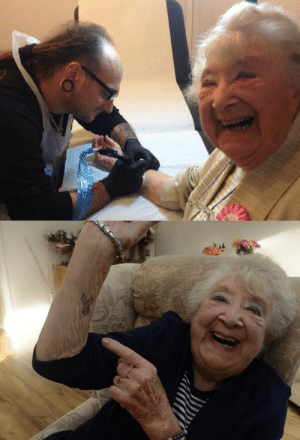 chubby-bunnies:  piledrive-waltz: mojosodope178:  wynn1ng:  skindeeptales:  On her 90th birthday grandma Heather Brooks got her first tattoo. She chose a Cancer Research pink ribbon to signify her victory after a five year battle with cancer. via Things & Ink  This gives me all the feels.  But what are you gonna think in 30 years when you're 120?  that comment made my day   crying: chubby-bunnies:  piledrive-waltz: mojosodope178:  wynn1ng:  skindeeptales:  On her 90th birthday grandma Heather Brooks got her first tattoo. She chose a Cancer Research pink ribbon to signify her victory after a five year battle with cancer. via Things & Ink  This gives me all the feels.  But what are you gonna think in 30 years when you're 120?  that comment made my day   crying