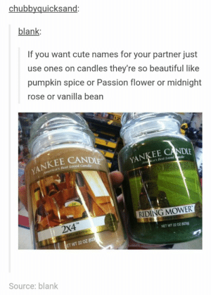 Cute names for your partneromg-humor.tumblr.com: chubbyquicksand  blank:  If you want cute names for your partner just  use ones on candles they're so beautiful like  pumpkin spice or Passion flower or midnight  rose or vanilla bean  YANKEE CANDI  erica's Best Loved Candie  Ama ica's Best Loved  20  RIDING MOWER  TM  2X4  NET WT 22 OZ (623g)  ET WT 22 OZ(6  Source: blank Cute names for your partneromg-humor.tumblr.com