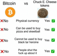 Chuck E Cheese, Pizza, and Black: Chuck E. Cheese  tokens  vs  XNoPhysical currency Yes  Can be used to buy  pizza and skeetball  XNo  Yes  XNo  Cannot be used to buy  black tar heroine  Yes  People shut the  fuck up about it  No  Yes