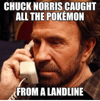 Chuck Norris, Memes, and Pokemon: CHUCK NORRIS CAUGHT  ALL THE POKEMON  FROM A LANDLINE stilldontplay pokemon chucknorris landline catchemall