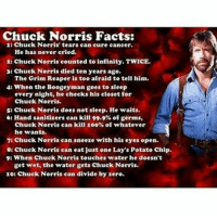 😂😂 *sighs* Chuck Norris.... hey guys sorry for not posting in a while, it's summer I've been caught up in a ton of things. So please forgive me! -------------------------- chucknorris chucknorrisfacts hessostrong funny clean funnybutclean cleanandfunny cleanlaughs cleanhahas cleanfunnies haventpostedinawhilesorry hashtags hashgram rustyhammeronhisleg randomhashtags hashbrown imdone: Chuck Norris Facts:  1: Chuck Norris' tears can cure cancer.  He has never cried.  zt Chuck Norris counted to infinity. TWICE.  3: Chuck Norris died ten years ago.  The Grim Reaper is too afraid to tell him.  4: When the Boogeyman goes to sleep  every night, he checks his closet for  Chuck Norris.  5: Chuck Norris does not sleep. He waits.  6: Hand sanitizers can kill 99.9% of germs,  Chuck Norris can kill 100% of whatever  he wants.  7: Chuck Norris can sneeze with his eyes open.  8: Chuck Norris can eat just one Lay's Potato chip.  9: When Chuck Norris touches water he doesn't  get wet, the water gets Chuck Norris.  10: Chuck Norris can divide by zero. 😂😂 *sighs* Chuck Norris.... hey guys sorry for not posting in a while, it's summer I've been caught up in a ton of things. So please forgive me! -------------------------- chucknorris chucknorrisfacts hessostrong funny clean funnybutclean cleanandfunny cleanlaughs cleanhahas cleanfunnies haventpostedinawhilesorry hashtags hashgram rustyhammeronhisleg randomhashtags hashbrown imdone