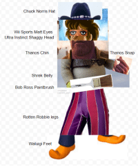 Chuck Norris, Head, and Shrek: Chuck Norris Hat  Wii Sports Matt Eyes  Ultra Instinct Shaggy Head  Thanos Chin  Thanos Snap  Shrek Belly  Bob Ross Paintbrush  Rotten Robbie legs j  Waluigi Feet the almighty all-powerful supreme overlord of the multiverses