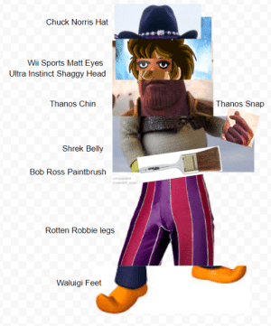 the almighty all-powerful supreme overlord of the multiverses by Aquacelot MORE MEMES: Chuck Norris Hat  Wii Sports Matt Eyes  Ultra Instinct Shaggy Head  Thanos Chin  Thanos Snap  Shrek Belly  Bob Ross Paintbrush  Rotten Robbie legs j  Waluigi Feet the almighty all-powerful supreme overlord of the multiverses by Aquacelot MORE MEMES