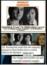 Mind = Blown: CHUDLEY  CANNONS  Ouidditch Team? Or JK Rowling's secret  way of telling is canon  (Cho?Dudley)  J.K. Rowling has stated that she originally  planned to have Dudley have  a wizard  child in the Epilogue  Dudley/Cho  I called that.  Cho Chang survived the war and  eventually married a muggle. Mind = Blown