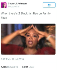 Blackpeopletwitter, Chun-Li, and Family: Chun-Li Johnson  @kdaywins  When there's 2 Black families on Family  Feud  8:47 PM-12 Jul 2016  4,705 RETWEETS  5,804 LIKES <p>&ldquo;Shit, I don&rsquo;t know who to cheer for&hellip;&rdquo; (via /r/BlackPeopleTwitter)</p>