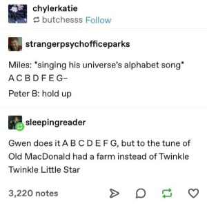"""Zendaya?!?!?!?"": chylerkatie  butchesss Follow  strangerpsychofficeparks  Miles: *singing his universe's alphabet song*  AC BDFEG  Peter B: hold up  sleepingreader  Gwen does it A BCDEFG, but to the tune of  Old MacDonald had a farm instead of Twinkle  Twinkle Little Star  3,220 notes ""Zendaya?!?!?!?"""
