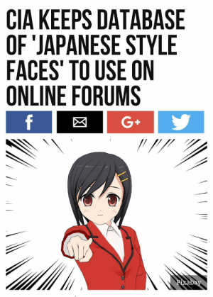 Anime, Tumblr, and Avatar: CIA KEEPS DATABASE  OF 'JAPANESE STYLE  FACES' TO USE ON  ONLINE FORUMS  8  G+ thefaggotoftruth:  pennamites:  enrique262:  loafed-beans:   robin-hood-for-freedom: Its official: Everyone with an anime avatar is now a fed.  i knew it   So that's why they have such terrible opinions!   TRUST NO WEEBS  ole reliable