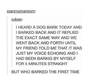 Time, Today, and Voice: ciannypnantom:  rubee:  I HEARD A DOG BARK TODAY AND  I BARKED BACK AND IT REPLIED  THE EXACT SAME WAY AND WE  WENT BACK AND FORTH UNTIL  MY FRIEND TOLD ME THAT IT WAS  JUST MY VOICE ECHOING AND I  HAD BEEN BARKIG BY MYSELF  FOR 5 MINUTES STRAIGHT  BUT WHO BARKED THE FIRST TIME It's a mystery