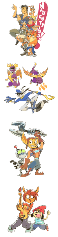 Cute, PlayStation, and Target: cigar-blues:  playstation characters!! cute animal mascots are my new fave thing to draw
