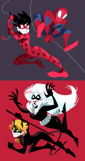 cigardoesart:miraculous ladybug/spiderman crossover!! both pairs REALLY remind me of eachother !!: cigardoesart:miraculous ladybug/spiderman crossover!! both pairs REALLY remind me of eachother !!