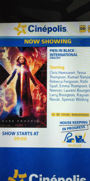 Men in Black, Black, and Ferguson: Cinépolis  5  08  NOW SHOWING  MEN IN BLACK:  INTERNATIONAL  ENGLISH  Starring  Chris Hemswort, Tessa  Thompson, Kumail Nanjia  Rebecca Ferguson, Rafe  Spall, Emma Thompson, L  Neeson, Laurent Bourgec  Larry Bourgeois, Kayvan  Novak, Spencer Wilding  U  3D 115 min Action Sci Fiction  DARK P H OENI  HOUSE KEEPING  JUNE 7  IN PROGRESS  SHOW STARTS AT  09:00  00:05:54  Cinénalis Cinepolis bringing the crossover no one asked for
