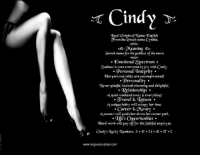Memes, Relationships, and Soon...: Cindy  Iocal origin of Name Engtish  Orom the Greek name Crnthia  Meaning  Greek name for the goddess of the moon  Emotional Spectrum  Sadness is soon overcome by io with Cindy.  Personal Integrity  Her personal ethics are uncompromised!  Personality  ever spiteful, but both c  and delightful.  Relationships.  Aquiet weekend away is thing!  O ravel Sa deisure  Aunique hobby will occupy her time.  Career &aConey  Amentor will guide career path.  e's Opportunities  Hard work will pay off for this faithful employee.  www.angiescreation.com Want to know the meaning of your name? Search your name at--> ====================== www.angiescreation.com ====================== Didn't find your name? Leave your name in the comments and we will make you one