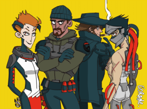 Party, Squad, and Tumblr: ciorane:Little doodle of the blackwatch squad. I just wanted to draw my mains, but Mccree and Genji ended up joining the party;