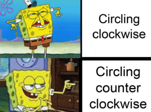 SpongeBob, Race, and Master: Circling  clockwise  Circling  counter  clockwise Master race