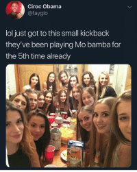 Instagram, Lol, and Meme: Ciroc Obama  @fayglo  lol just got to this small kickback  they've been playing Mo bamba for  the bth time already @pubity was voted 'best meme account on Instagram' 😂