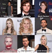 "Official (not full) cast for AHS 7! americanhorrorstory ahs ahs7: CIti  PALEY  4/  T hulu LET hulu  | PALEYF  PALEYFE  4/19  hulu  T hulu  o P""Adina Porter  Evan Peters  Sarah Paulson  FIJI  WI  AL  THE  Alison Pil  @AHSfandom  Billie Lourd  BAZA  CM  Leslie Grossman  Colton Haynes Official (not full) cast for AHS 7! americanhorrorstory ahs ahs7"