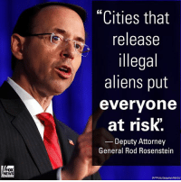 """""""When somebody is already in jail and they're subject to deportation order, if the local authorities ignore that order... that puts them at risk. """" On """"Fox News Sunday,"""" Deputy Attorney General Rod Rosenstein discussed cracking down on illegal immigration.: """"Cities that  release  illegal  aliens put  evervone  at risk'.  Deputy Attorney  General Rod Rosenstein  FOX  NEWS  AP Photo/Jacquelyn Martin) """"When somebody is already in jail and they're subject to deportation order, if the local authorities ignore that order... that puts them at risk. """" On """"Fox News Sunday,"""" Deputy Attorney General Rod Rosenstein discussed cracking down on illegal immigration."""