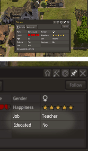 Dank, Memes, and Target: Citizen  Follow  Details, Inventory  Name Bernandace Gender  Health  Age  Clothing Fair  Tool  Bernandace is working  Happiness ★★  Job  Educated No  15  Teacher  ron  Follow  Gender  Happiness  Job  Educated  ★ ★ ★ ★ ★  Teacher  No me irl by mujhair FOLLOW HERE 4 MORE MEMES.