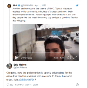 Citizen mouths off at NYPD cops for parking dangerously, NYPD police union advocates for police brutality against him: Citizen mouths off at NYPD cops for parking dangerously, NYPD police union advocates for police brutality against him