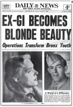 "America, Parents, and Respect: CITY  NEW YORK'S PICTURE NEWSPAPER  EX-GI BECOMES  BLONDE BEAUTY  Operations Transform Bronx Youth  A World of a Difference  Geare W  wrved in the ArmY A] fr twe yeags and as dves  loralle discharge in İNL New Gerga ls mere.  atal leday ate s  a photegnaher in Denrk Parents were  in a eter Christine (thats dreamsofamadman: somethingaboutdelia:  cryingalonewithfrankenstein:  This photo always cheers me up a bit. It's a front-page article from 1955 about Christine Jorgensen, one of the first women to have sex-reassignment surgery. Since the text is a bit small and I couldn't find a larger copy, here's what the small blurb says: A World of a Difference  George W. Jorgensen, Jr., son of a Bronx carpenter, served in the Army for two years and was given honorable discharge in 1946. Now George is no more. After six operations, Jorgensen's sex has been changed and today she is a striking woman, working as a photographer in Denmark. Parents were informed of the big change in a letter Christine (that's her new name) sent to them recently.  This article is 58 years old, and it's more respectful of Christine's pronoun choices and name than some publications are today. It makes me happy to see a newspaper be respectful of a trans person's choice of name and pronouns like that :3  Say it again for the haters in the back who want to keep pretending that trans people, or even treating trans people with respect is even remotely anything new. 😎  It's worth mentioning, that this was kinda celebrated as a wonder of the atomic age at the time. ""Look at the power of our scientists! Look at what we can do!""You know, back when America was trying to be the leader in scientific advancement."