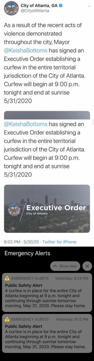 city of atlanta tweeted about the 9pm curfew at 6pm, but the public safety alert didn't go out until... 9:12pm https://t.co/Le8uoPEMKO: city of atlanta tweeted about the 9pm curfew at 6pm, but the public safety alert didn't go out until... 9:12pm https://t.co/Le8uoPEMKO