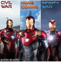 Iron Man, Memes, and Avengers: CIVIL HOME  WAR COMING WAR  INEINITY  WEB.HEADS From @kingofmetahumans - IRON MAN PHASE 3 ARMORS I'm really digging the new chest repulser design, and the silver bottom half in Homecoming is sick. Edit by: @web.heads ironman ironman2 ironman3 tonystark robertdowneyjr captainamericacivilwar civilwar spidermanhomecoming spiderman avengersinfinitywar avengers infinitywar ageofultron captainamerica peterparker tomholland marvel
